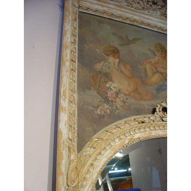 Monumental Antique, French Parcel Paint Trumeau Mirror For Sale - Image 10 of 10