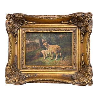 E. Buhm 19th Century English Sheep Painting on Board in Gilt Frame Signed E. Buhm Circa 1880 For Sale