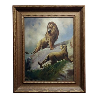 Pair of Lions - 19th Century Victorian Oil Painting on Canvas For Sale
