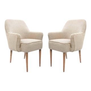 Mid-Century Upholstered Armchairs - A Pair For Sale