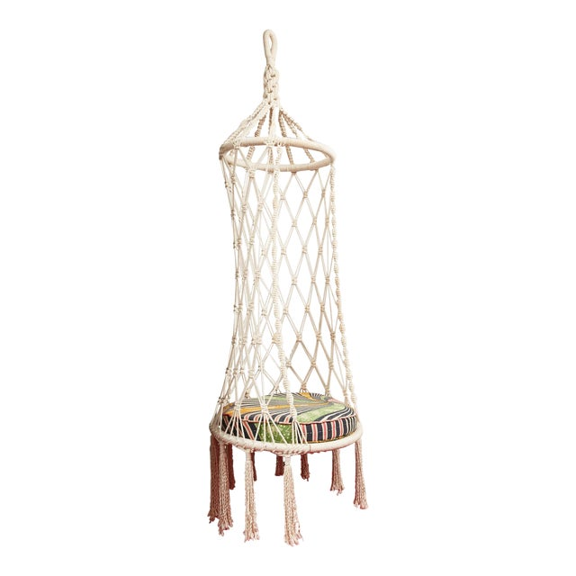 Vintage Boho Chic Macrame Hanging Chair For Sale