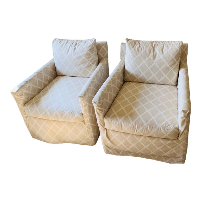 Traditional Serena & Lily Spruce Street Slipcovered Chairs - a Pair For Sale