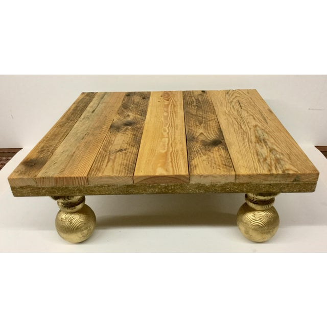 Rustic Low Reclaimed Hardwood Meditation Table For Sale - Image 13 of 13