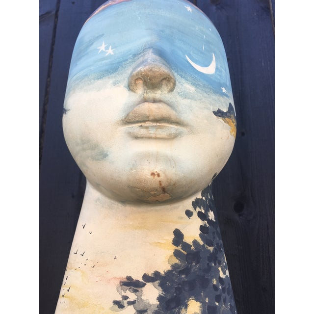 Blue Tall Hand-Painted Boho Bust Sculpture, Signed For Sale - Image 8 of 13