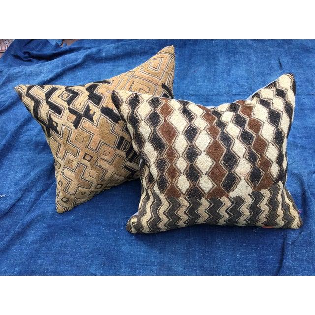 African Kuba Cloth Pillows - A Pair - Image 2 of 7