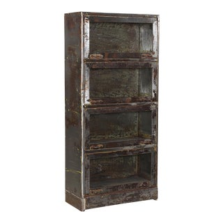 Mid 20th Century Industrial Gun Metal Glass Cabinet For Sale