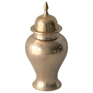 1970s Brass Ginger Jar Urn For Sale
