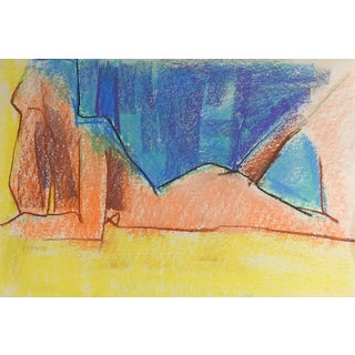Colorful Cubist Nude Pastel Painting For Sale
