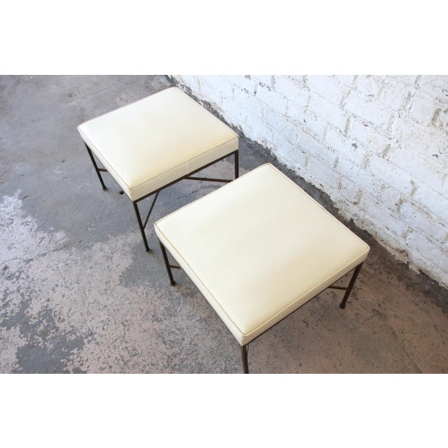 Brass Paul McCobb for Directional X-Base Brass and Upholstered Stools or Benches, Pair For Sale - Image 7 of 11