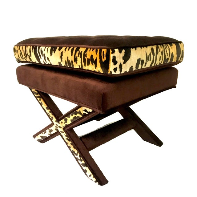 A classic X bench updated in chocolate brown velvet with leopard velvet banding. Fully upholstered, attached, button...