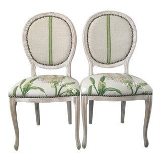 Vintage Louis XV Style Linen Upholstered Side Chairs - Set of 2