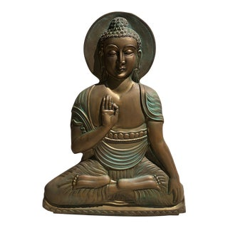 Vintage Brass Buddha Sculptural Wall Hanging For Sale