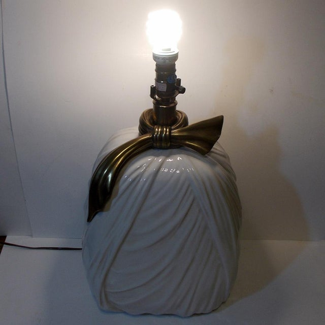 Metal Chapman Porcelain Brass Ribbon Lamp 1980s Hollywood Regency Style For Sale - Image 7 of 10