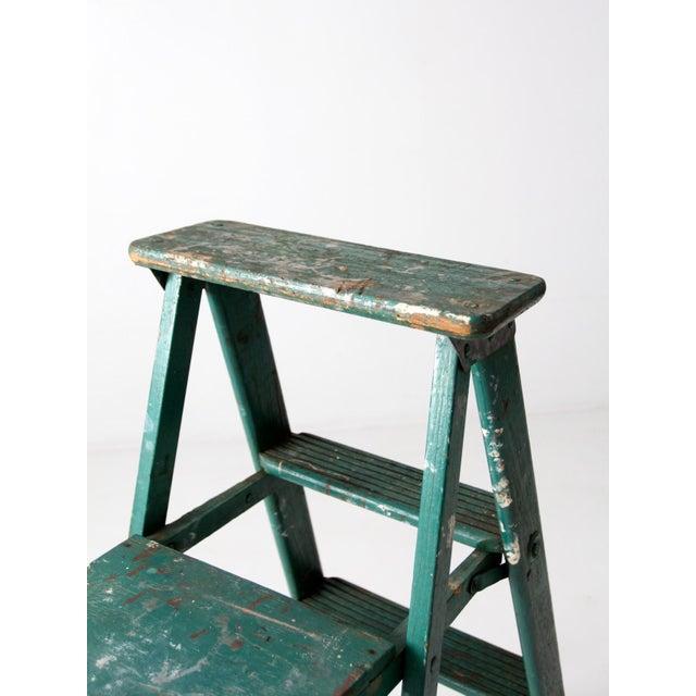 Green Vintage Green Wooden Ladder For Sale - Image 8 of 10