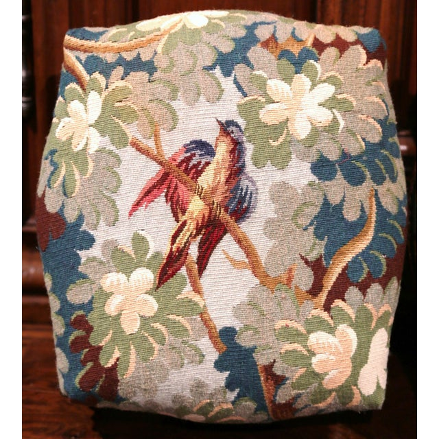 Pair of 19th Century, French, Carved Walnut Stools with Old Aubusson Tapestry For Sale In Dallas - Image 6 of 10
