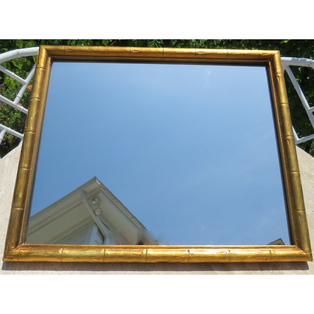 Vintage Palm Beach Style Gilt Faux Bamboo Rectangular Mirror For Sale - Image 12 of 13