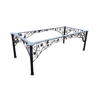 """Four Seasons"" Sculptural Wrought Iron Dining Table by Dereck Glaser With Glass Top For Sale"