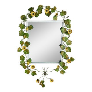 Italian Toleware Floral Shabby Chic Cottage Mirror For Sale