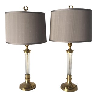 Mid-Century Table Lamps (2) Wonderfully Complimented by Custome Shades For Sale