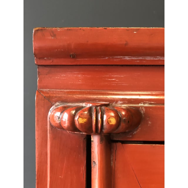 1900 - 1909 Antique Red Asian Cabinet For Sale - Image 5 of 13
