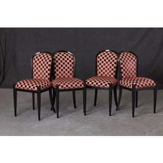 Set of 4 Black Lacquered Side Chairs by Sally Sirkin Lewis for J. Robert Scott Preview