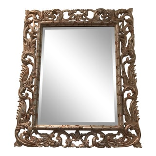 Antiqued Silver Brocade Large Wall Mirror For Sale