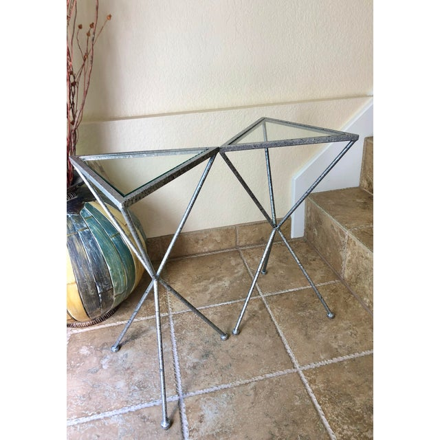 Uttermost Uttermost Modern Iron & Tempered Glass Tripod Accent Tables - a Pair For Sale - Image 4 of 13