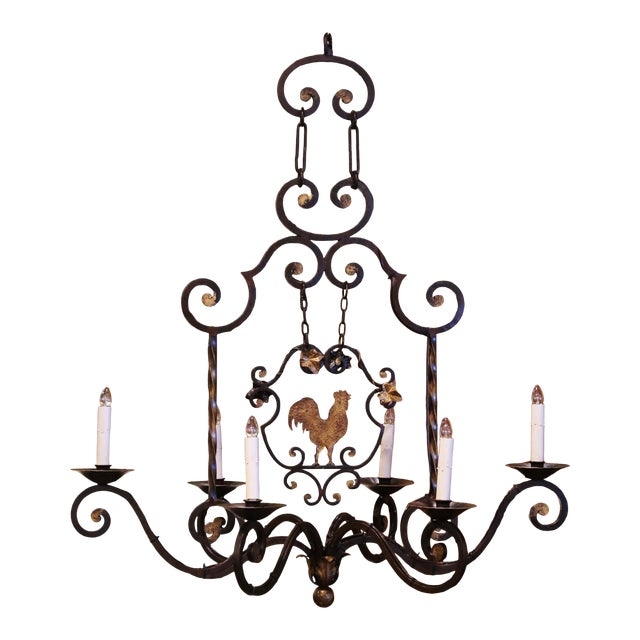 Early 20th Century French Six-Light Iron Chandelier With Center Rooster For Sale