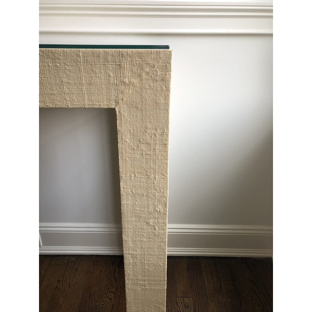 Contemporary Grasscloth Wrapped Parsons Console For Sale - Image 4 of 5