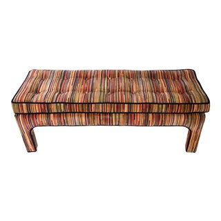 1970's Striped Drexel Bench in the Manner of Milo Baughman For Sale