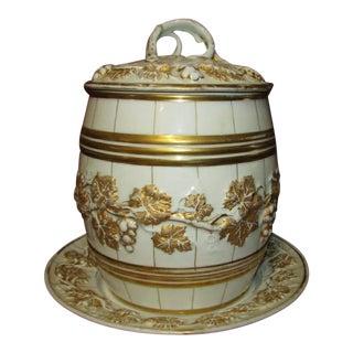 Antique Wine Barrel Form Porcelain Punch Bowl For Sale