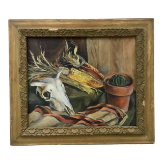 "1960s Vintage ""Still Life With Cow Skull"" Oil on Canvas by Paul Zimmerman For Sale"