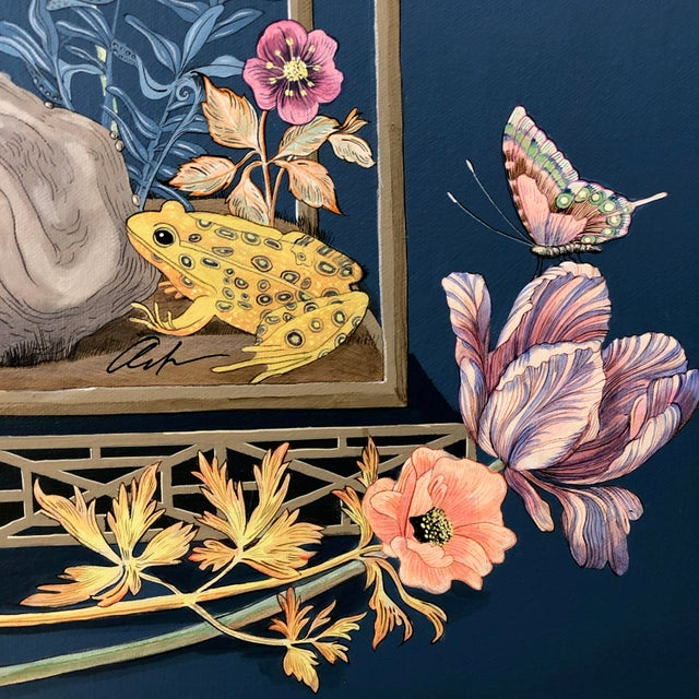 """Chinoiserie """"Open House"""" Bird Terrarium Chinoiserie Painting by Allison Cosmos For Sale - Image 3 of 7"""