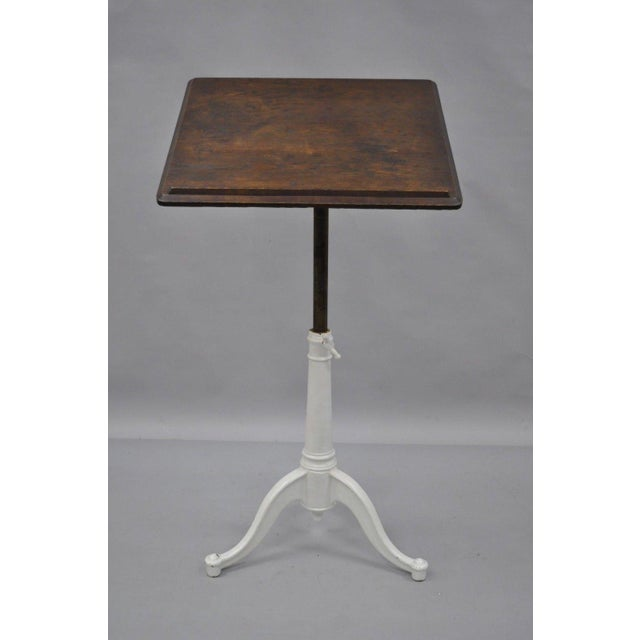 Industrial Eugene Dietzgen Cast Iron & Wood Tripod Base Drafting Work Table Desk For Sale - Image 3 of 12