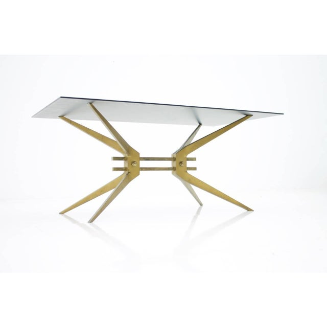 Gold Italian Coffee Table in Brass and Glass, 1950s For Sale - Image 8 of 8