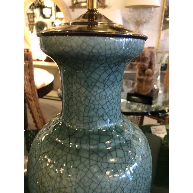 Green Vintage Hollywood Regency Pagoda Teal Green Crackle Glaze & Brass Table Lamps -A Pair For Sale - Image 8 of 13