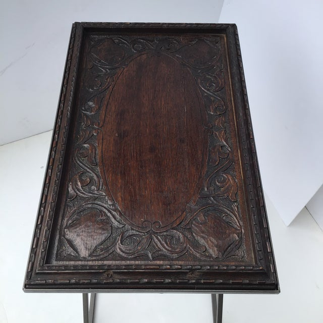 Contemporary Antique English Carved Side Table For Sale - Image 3 of 9