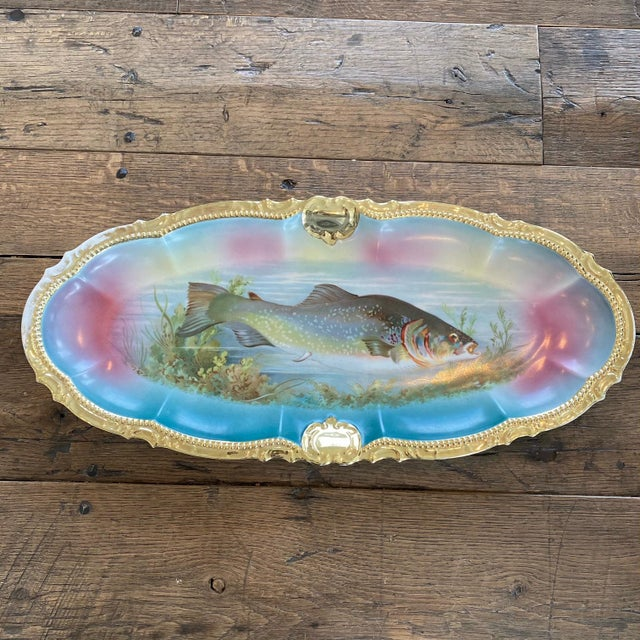 German Porcelain Handpainted Gold Gilt Fish Serving Set -Set of 15 For Sale - Image 9 of 13