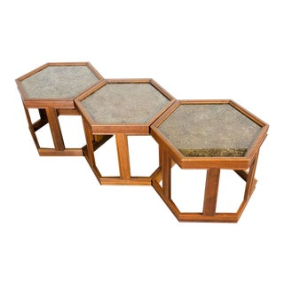 John Keal Hexagonal Copper Topped End Tables - Set of 3 For Sale