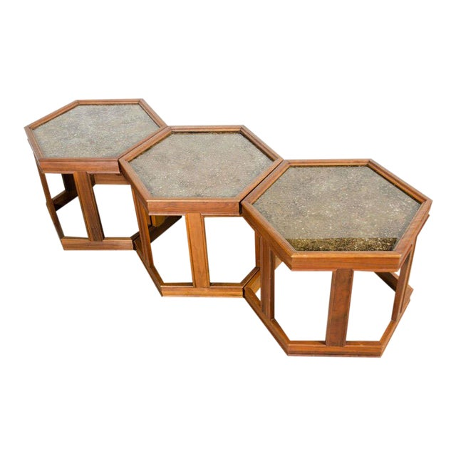 Luxury John Keal Hexagonal Copper Topped End Tables Set Of 3 Decaso