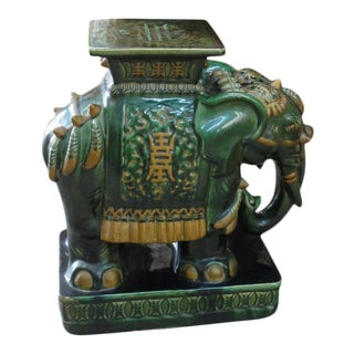 1970s Emerald Green Elephant Garden Seat For Sale