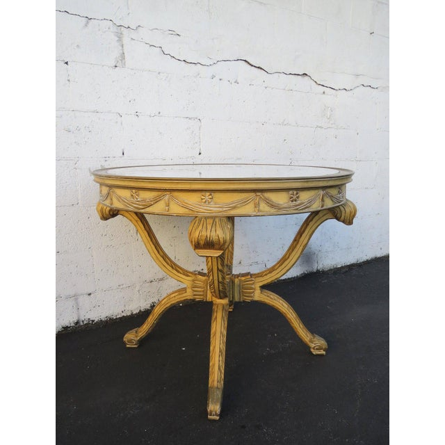 White French Painted Heavy Carved Marble Top Large Center Table For Sale - Image 8 of 11