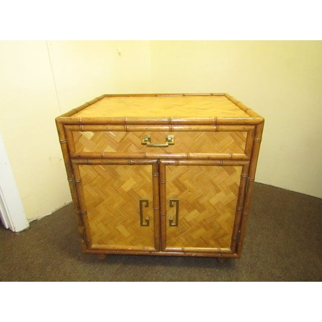 Asian Split Bamboo & Woven Accent Table Cabinet For Sale - Image 3 of 7