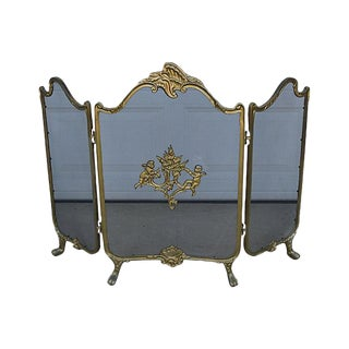 Vintage Brass Cherub Fireplace Screen