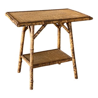 Antique English Burnt Bamboo Side Table For Sale