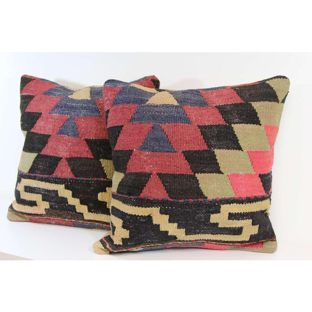 Turkish Kilim Pillow Covers - A Pair - Image 3 of 4