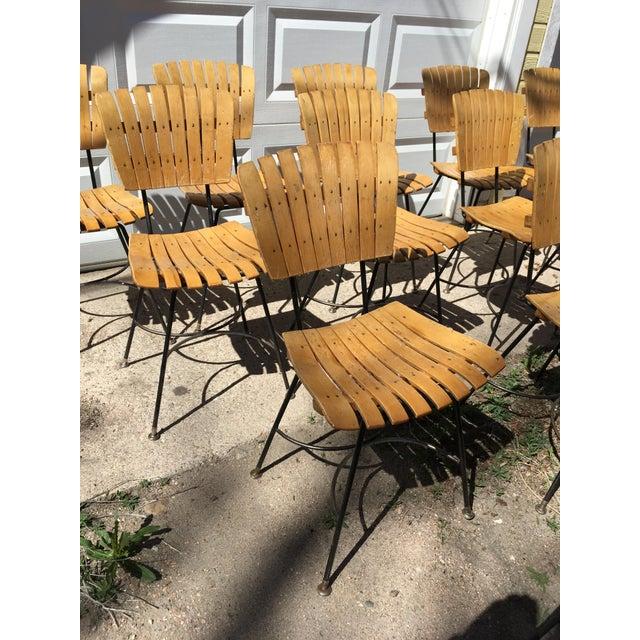 Black Arthur Umanoff Slatted Wood & Iron Chairs - Set of 30 For Sale - Image 8 of 13