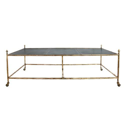 Early 20th Century A Rare Oversized Jansen Brass and Leather Coffee Table on Faux Bamboo Brass Base For Sale - Image 5 of 5