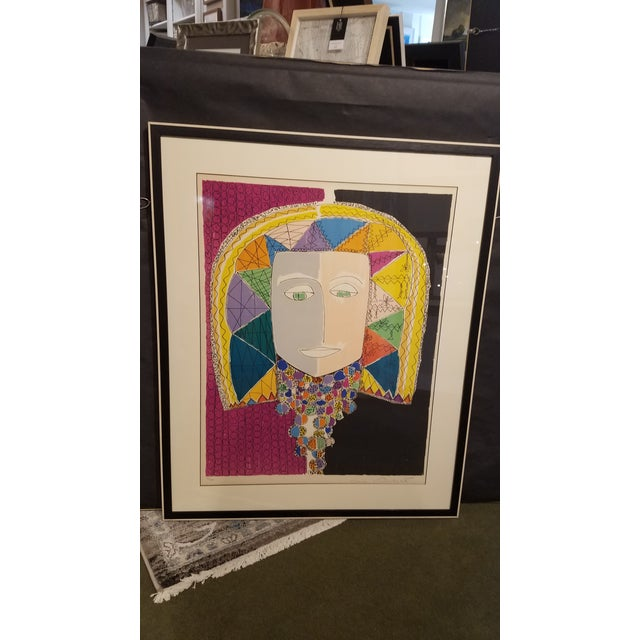 """Lithograph Original Gloria Vanderbilt Signed Lithograph Titled """" Egyptian Head"""" For Sale - Image 7 of 9"""