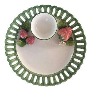 Strawberry Embellished Chip and Dip Platter by the Mane Lion-Italy For Sale